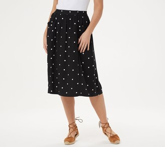 Denim & Co. Pull-On Polka Dot Printed Midi Skirt