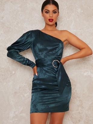 Chi Chi London Lusia One Shoulder Bodycon Mini Dress - Teal