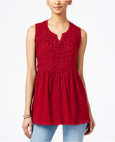 Style&Co. Style & Co. Empire-Waist Split-Neck Top, Only at Macy's
