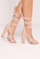 Missguided Twist Strap Block Heeled Sandals Pink