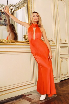 Nasty Gal Womens Orange Satin Maxi Dress with Low Back