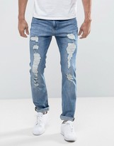 Lee Rider Slim Fit Jeans Heavy Rip & Repair Urban Trash