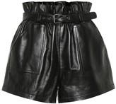 Saint Laurent High-rise leather shorts