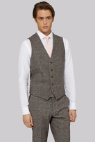 Moss Bros Slim Fit Light Brown Check Waistcoat