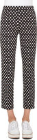 Akris Punto Franca Dot-Print Ankle Pants, Black/Cream