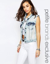 Noisy May Petite Patched Denim Vest