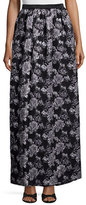 Prabal Gurung Metallic-Floral Full Skirt, Black/Silver