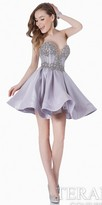 Terani Couture Strapless Bustier Pleated Homecoming Dress