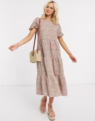 Asos DESIGN midi tiered smock dress in floral print