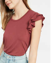 Express double ruffle shoulder scoop neck tee