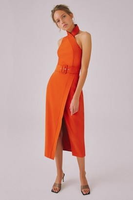 C/Meo OUTBREAK MIDI DRESS Burnt Orange
