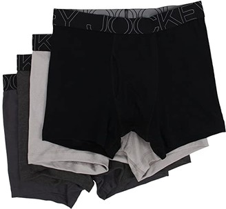Jockey Active Blend Boxer Brief 4-Pack (Black/Trusted Pewter/Charcoal heather/Quartz Grey) Men's Underwear