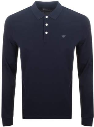 Giorgio Armani Emporio Long Sleeved Polo T Shirt Navy