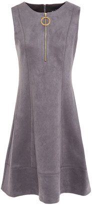 DKNY Flared Zip-detailed Faux Stretch-suede Dress