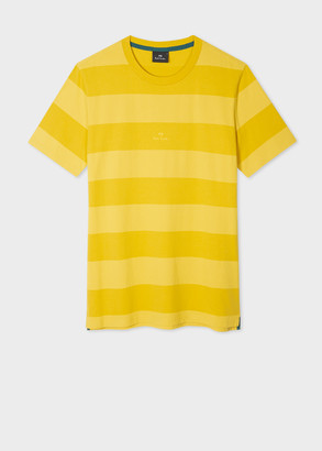 Paul Smith Men's Yellow Block-Stripe Organic Cotton T-Shirt