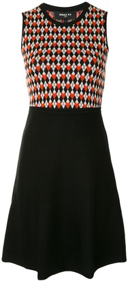 Paule Ka Diamond Intarsia Panelled Dress