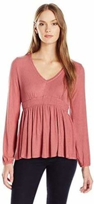 Taylor & Sage Women's Solid Rib Baby Doll Top