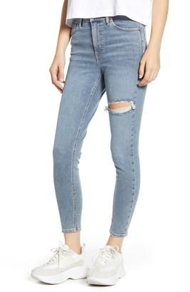 Topshop Jamie High Waist Ripped Knee Raw Hem Jeans
