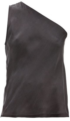 Worme - The One Shoulder Silk Tank Top - Black