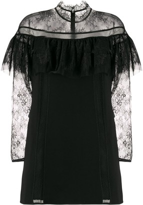 Self-Portrait Sheer Lace Sleeve Dress