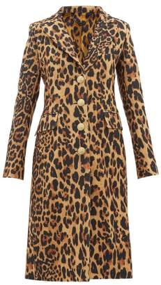 Paco Rabanne Leopard Single Breasted Wool Blend Coat - Womens - Leopard