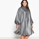 Castaluna Plus Size Midi Dress with Smocked Collar and Cuffs