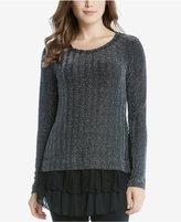 Karen Kane Layered-Look Lace-Hem Sweater