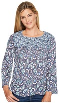 Lucky Brand Mixed Print Smocked Top Women's Long Sleeve Pullover