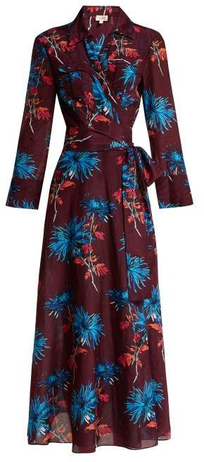 Diane von Furstenberg Hewes Print Cotton And Silk Blend Wrap Dress - Womens - Burgundy Multi