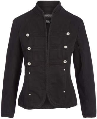 Live A Little Women's Denim Jackets BLACK - Black Denim Lightweight Military Jacket - Women