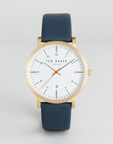 Ted Baker Samual Leather Watch In Navy