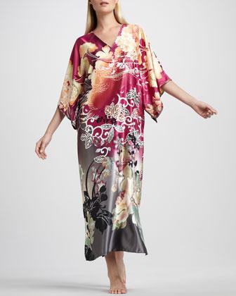 Natori Ming Floral-Print Caftan, Dahlia