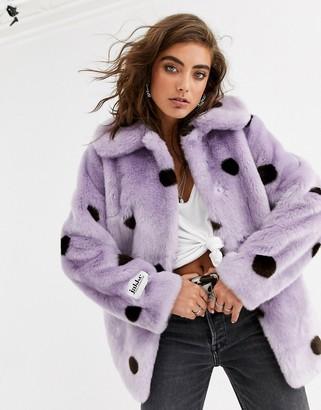 Jakke coat mid length coat in spot faux fur-Purple