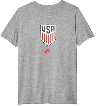 Nike Kids USA Evergreen Crest Tee (Little Kids/Big Kids) (Dark Grey Heather) Boy's T Shirt