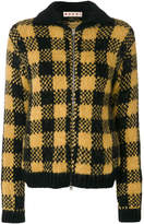 Marni checked knitted bomber jacket