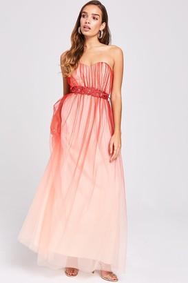 Little Mistress Carissa Grapefruit Floral Belt Maxi Dress