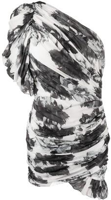 Alexandre Vauthier Floral Print One-Shoulder Dress