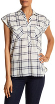 Soft Joie Collared Cap Sleeve Plaid Pocket Shirt