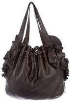 Valentino Leather Ruffle-Trimmed Hobo