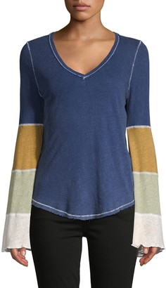 Free People Heathered Colorblock Linen & Cotton-Blend Tee