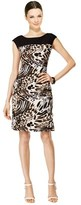 Connected Apparel Leopard Printed Cap Sleeve Sheath Dress.