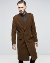 Asos Wool Mix Overcoat with Military Styling in Brown