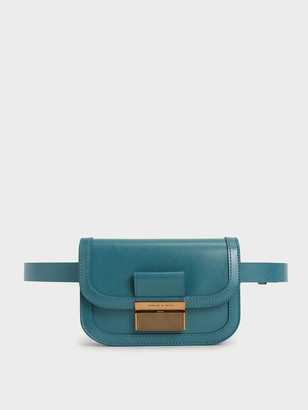 Charles & Keith Metallic Push-Lock Front Flap Bag