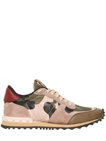 Valentino 20mm Camouflage Nylon & Suede Sneakers