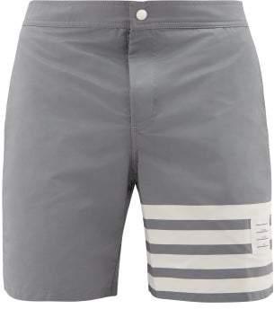 Thom Browne 4-bar Stripe Technical Swim Shorts - Mens - Grey