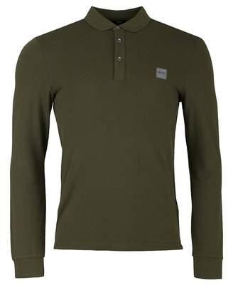 BOSS Passerby Logo Pique Long Sleeved Polo Colour: KHAKI, Size: XXXL