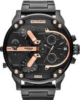 Diesel mens watch black IP stainless steel case and bracelet, tonal black dial with rose gold accents