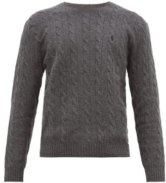 Polo Ralph Lauren Logo-embroidered Cable-knit Wool-blend Sweater - Grey
