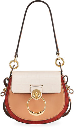 Chloé Tess Small Tricolor Mixed Leather Shoulder Bag