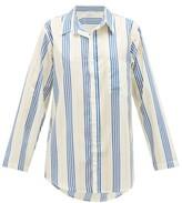 Pour Les Femmes - Boyfriend Striped Cotton Sleep Shirt - Womens - Blue Stripe